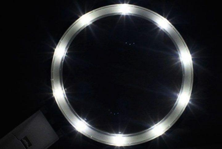 lupa con soporte y luz led