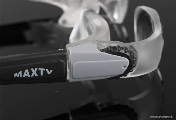La TV del binocular de maxtv protege lupas que enfocan la lupa de gafas para la